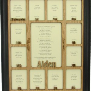 School Years Frame with Name Graduation Collage K-12 Clockwise Black Picture Frame and Oak Matte 11x14