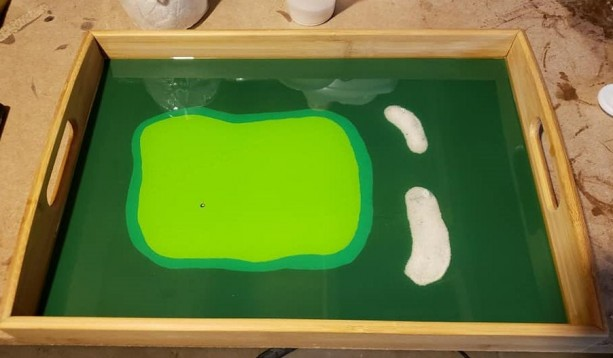 Small Golf Course Resin Epoxy Serving Tray, Resin Art, Epoxy Art, Hand Painted Tray, Putting Green Painting, Fathers Day, Bamboo Serving Tray