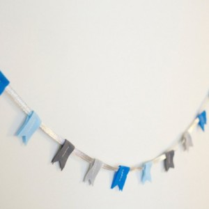 felt flag garland hand sewn in blues and grays : ready to ship!