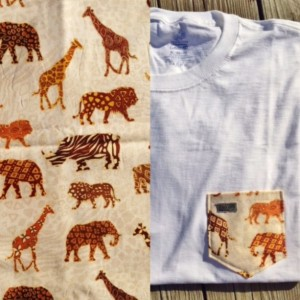 African Wildlife Animals Brown and Beige Patterned Pocket Tee