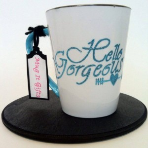 Hello Gorgeous Glitter Inspirational Hand Painted 14 oz Ceramic Coffee Latte Tea Cup Mug