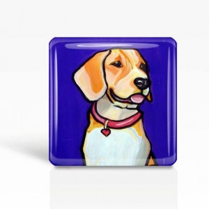 "DOG Art- Purple BEAGLE - Glass MAGNET By Artist A.V.Apostle- 2""x 2"""