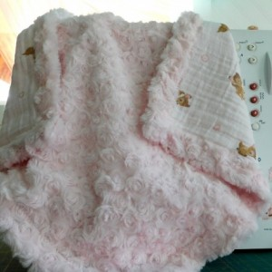"""Baby gift for girl...baby/toddler blanket- tag along blanket-bambi embrase/pink minky-18""""×18"""""""