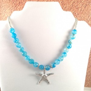 Blue agate starfish necklace