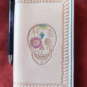 Leather Refillable Journal, Skull & Border Decoration, Turquoise Border