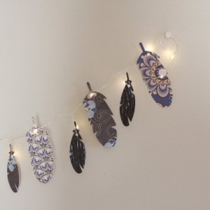 Feather Garland - Fairy Lights - Tribal Garland - Hens Party   - Boho Bedroom Decor -  Birthday Party Decor - Coachella 2017 - Bohemian