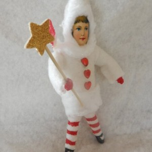 Spun Cotton Ornament Hand Crafted Victorian Child Old World Ornament