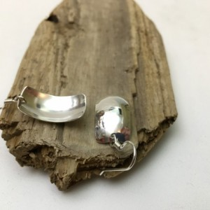 Silver Synclastic Earrings-Light Texture