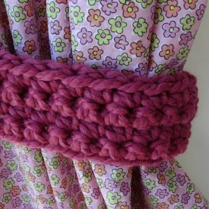 One Pair of Solid Dark Raspberry Pink Curtain Tie Backs, Tiebacks for Drapes, Drapery, Basic Simple, Crochet Knit, Ready to Ship in 2 Days