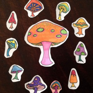 Hand-drawn Sticker Set #003: Mushrooms / Flowers