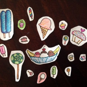 Hand-drawn Sticker Set #001: Ice Cream and Candy / Under the Sea