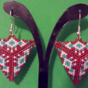 Red and Teal Native Earrings