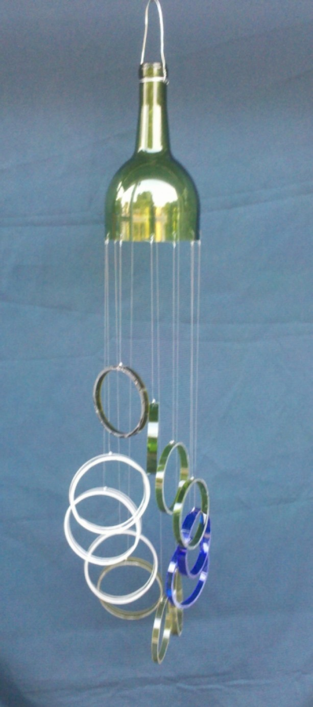 Multi Color Glass Wind Chime Handmade From Wine Bottles
