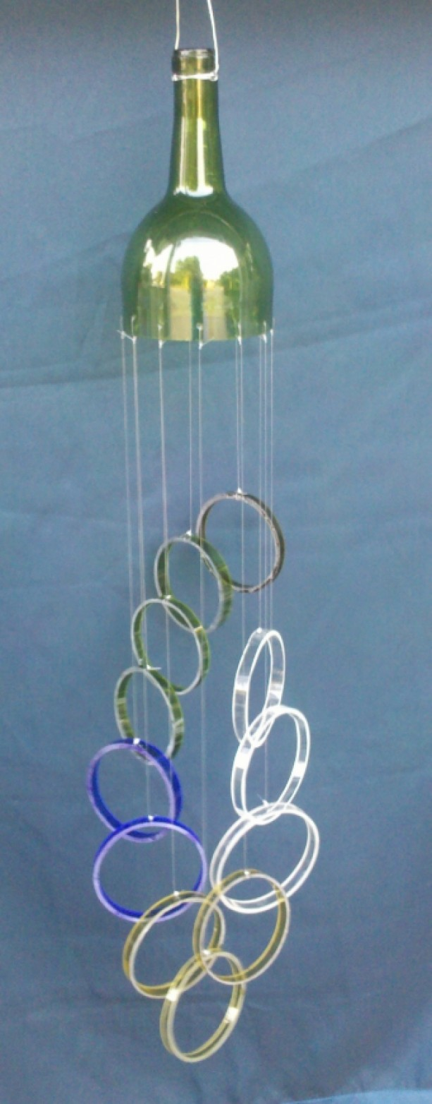 Multi color glass wind chime handmade from wine bottles for Glass bottle wind chimes