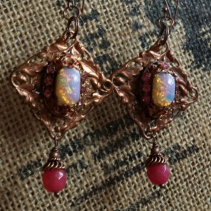 Hot Copper and Pink Dangles