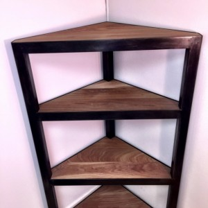Steel & Walnut Corner Shelf