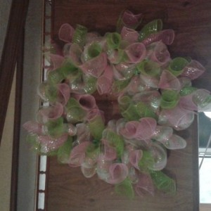 Green pink wreath with curls