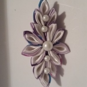 Kanzashi Purple and White Flower Barrette