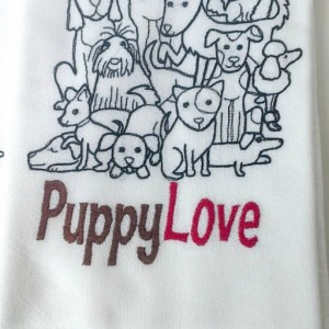 Puppy Love - Black Work Embroidered Cotton Dish Towel  - Genuine Flour Sack Towels