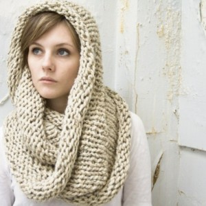 Infinity Scarf No. 1 in Oatmeal - Wool Blend Circle Scarf - Cowl Scarf - Chunky Knit Scarf - Hooded Scarf - Ready to Ship
