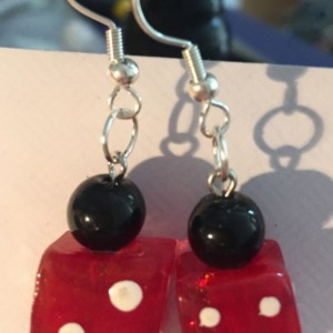 Roll the dice glass earrings