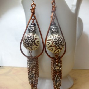 Chain Fringe Earrings with Arabesque Decorative Bead and Floral Motif