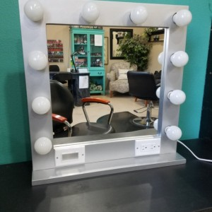 SILVER  24 x 24 Lighted Hollywood style Glamour vanity mirror