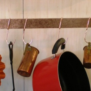 30 in Hammered SOLID COPPER Bar Pot Rack with 8 hooks & 22in chain --- FREE Shipping to U S Zip codes