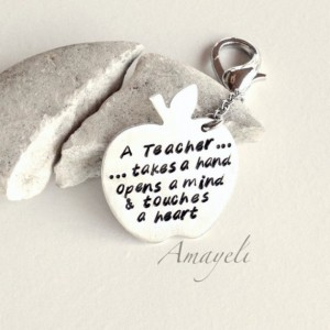 Handstamped keychain, teachers gift, apple keychain, teacher quotes, personalized gift, custom keychain, engraved quote