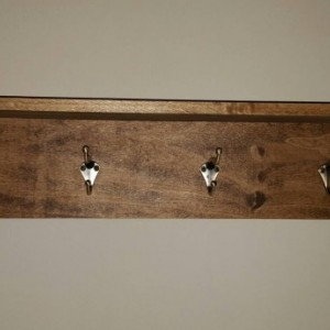 Hand crafted rustic coat rack and shelf