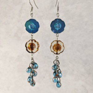 The Harper | handmade glass flower dangle earrings, stainless steel, chain jewelry, teal iridescent glass, Czech teardrops, Gifts for Her