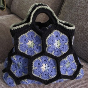 African Flower Crochet Purse, Crochet Bag, Flower Tote Bag, Crochet Bridesmaid Present