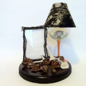 Antler Hunting Wine Glass Lamp with Picture Frame Hand Made Sculpted Hand Painted