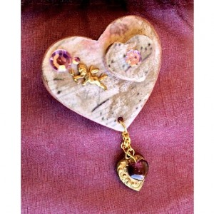 For the Love of the Craft Mixed Media Angel Heart Brooch