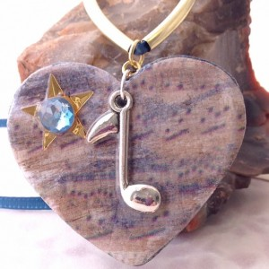 For the Love of the Craft Mixed Media Blue Musical Note Heart Charm Pendant