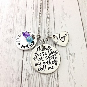 Mothers day gift for mom, theres this boy, mothers necklace, there's these boys, stole my heart, mom of boys, personalized name necklace
