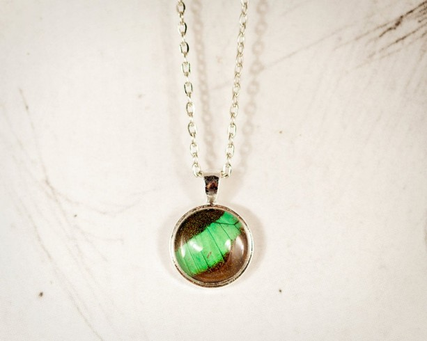 Real Butterfly Necklace - Real Butterfly Jewelry - Real Butterfly Wing - Emerald Pendant - May Birthstone - Gift for Her - Mini Pendant
