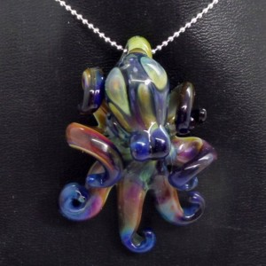 The Silver Seaweed Kracken Collectible Wearable  Boro Glass Octopus Necklace / Sculpture Made to Order