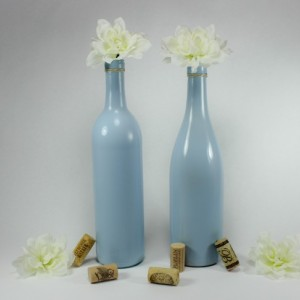 Wine Bottle Vase Set of 6 - Tranquil Blue Vases - Wedding Centerpiece - Baby Boy Shower - Table Decor - Rustic Glam - Bridal Shower