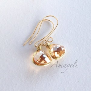 Amber earrings, gold drop earrings, Champagne earrings, bezel wrapped dangle earrings, teardrop earrings, bridal jewelry, elegant earrings