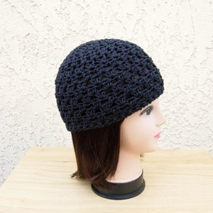 Solid Off Black Summer Beanie Hat, Soft 100% Cotton Lacy Lace Skull Cap, Women's Men's Crochet Knit Airy Chemo Cap, Ready to Ship in 2 Days