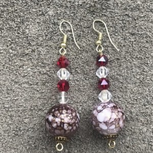 Ruby Red and White Dainty Earrings