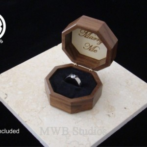 Solid Walnut Octagon engagement ring box.  Free Shipping and Engraving
