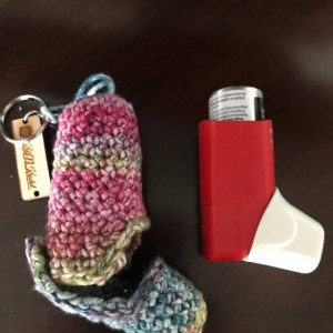 Asthma inhaler case / cover / key chain / for short red inhaler