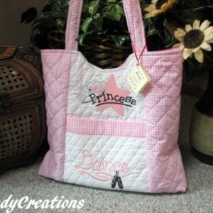 Dance Princess  Large Pink and White Quilted Tote