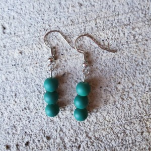 Beautiful Handmade Teal Glass Dangle Drop Earrings
