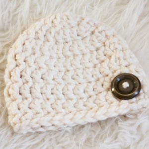 Chunky Crochet Wool Baby Hat in Cream~Baby Crochet Hat~Chunky Crochet Hat~Baby Girl~Baby Boy Size 3-6 Months