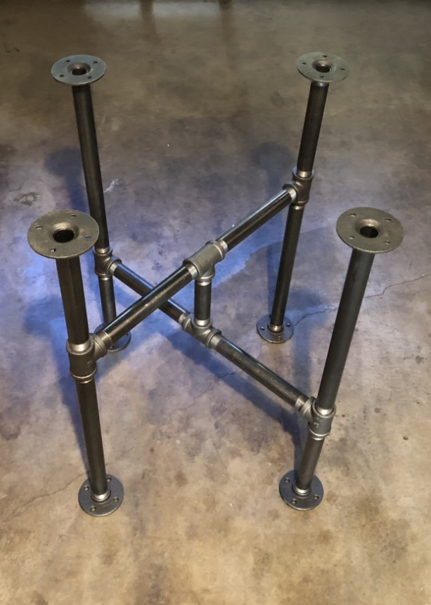 "Industrial Black Pipe Cross Table Base, ""DIY"" Parts Kit, Unique Table Base Design"