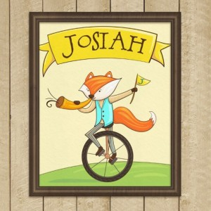 Personalized 8X10 Art Printable, Name Sign, Cute Fox, Kids Name Plaques