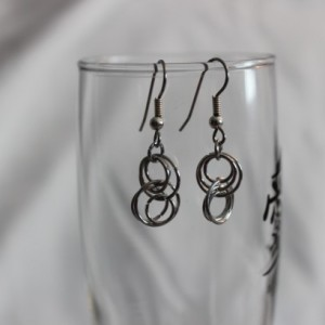 Chain Maille Earrings, Chain Mail Earrings, Aluminum Earrings, Interlocking Circle Earrings, Loop Earrings, Dangle Earrings